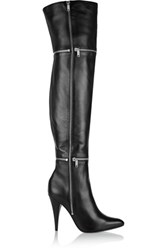 Saint Laurent Embellished Leather Thigh Boots Black