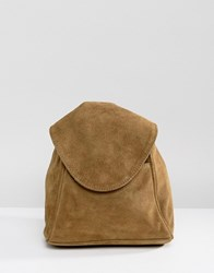 Asos Suede Minimal Backpack With Ring Pull Detail Green