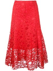 Cityshop Floral Lace Midi Skirt Red