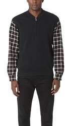 3.1 Phillip Lim Henley Sweatshirt With Flannel Over Sleeves Soft Black
