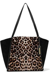 Donna Karan Woman Alan Leopard Print Calf Hair Suede And Textured Leather Tote Animal Print