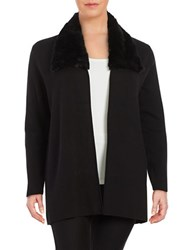 Nipon Boutique Plus Faux Fur Trimmed Cardigan Black