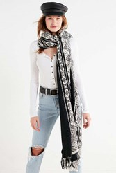 Urban Outfitters Metallic Geometric Weave Scarf Black Multi