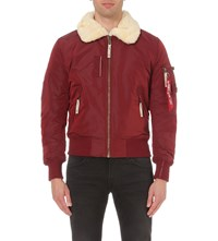Alpha Injector Bomber Jacket Burgundy