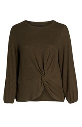 Bobeau Plus Size Sierra Die Knot Pullover Military Olive