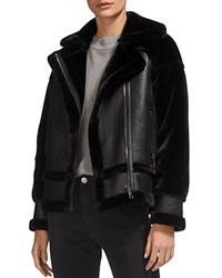 Whistles Mix Faux Fur Biker Jacket Black