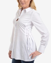 Ny Collection Lace Up Blouse Snow