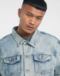 Liquor N Poker Co Ord Denim Jacket In Cloud Wash Blue