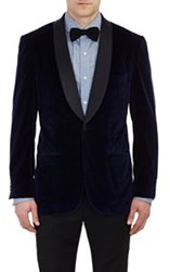 Sartorio Satin Lapel Velvet Pg Drop 8 Tuxedo Jacket Blue Size 38 Regul