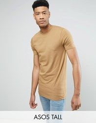 Asos Tall Longline Muscle T Shirt In Brown Brown