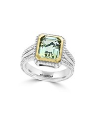 Effy 925 Green Amethyst 18K Yellow Gold And Sterling Silver Ring Emerald