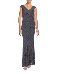 Decode 1.8 Sleeveless Flared Glitter Lace Gown Charcoal