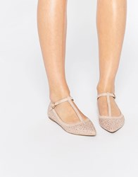 Oasis T Bar Point Sparkle Flat Shoe Pink