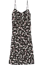 Nina Ricci Cherry Print Silk Dress Black