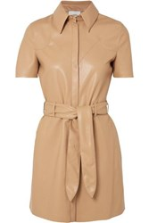 Nanushka Roberta Belted Vegan Leather Mini Dress Beige