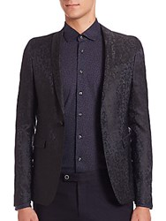 Saks Fifth Avenue Speckled Wool Blazer Navy