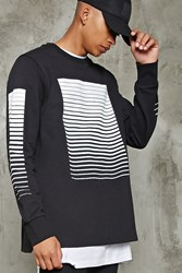 Forever 21 Gradated Stripe Print Pullover Black White