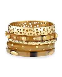 Nadra Mixed Bangle Set Bronze Light Horn Ashley Pittman