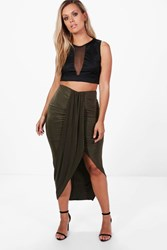 Boohoo Plus Renee Ruched Wrap Front Maxi Skirt Khaki
