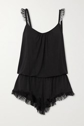 Eberjey Iona Point D'esprit Tulle Trimmed Stretch Modal Playsuit Black