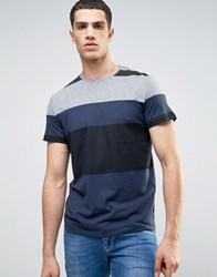 Kiomi T Shirt With Cut And Sew Stripes Grey Mix