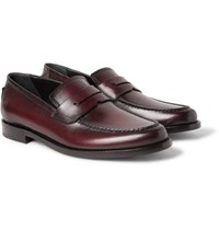 Berluti Gianni Burnished Leather Penny Loafers Burgundy