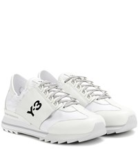 Y 3 Rhita Sport Leather And Fabric Sneakers White
