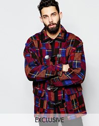 Reclaimed Vintage Patchwork Duffle Coat Red