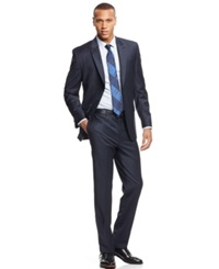 Andrew Marc New York Marc New York By Andrew Marc Blue And Charcoal Check Peak Lapel Classic Fit Suit