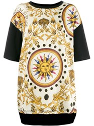 Fausto Puglisi Contrasting Sleeve Printed T Shirt Neutrals