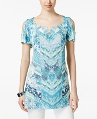 Styleandco. Style And Co. Petite Cold Shoulder Printed Tunic Only At Macy's Bohemian
