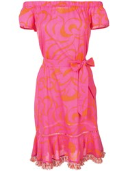 Trina Turk Belted Dress Women Cotton M Pink Purple