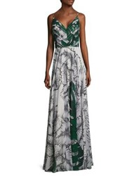 Kay Unger Leaf Printed Chiffon Gown Green Multicolor
