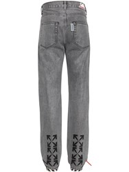 Off White Waterproof Relaxed Tapered Denim Jeans Grey