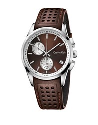 Calvin Klein Bold Stainless Steel And Leather Strap Watch K5a371gk Brown