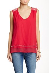 Ella Moss Sleeveless Embroidered Silk Tank