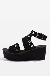 Topshop Wizz Studded Wedges Black