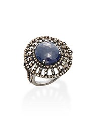 Bavna Sapphire Champagne Diamond And Sterling Silver Ring Blue