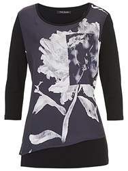 Betty Barclay Floral Print Satin Tunic Black Grey