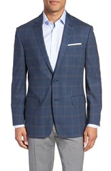 Hart Schaffner Marx Big And Tall Jetsetter Classic Fit Plaid Stretch Wool Sport Coat Navy