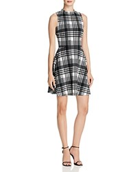 Aqua Plaid Mock Neck Dress White Black