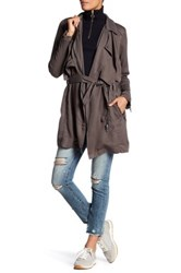 Blanknyc Denim Draped Trench Coat Gray
