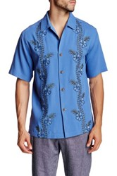 Tommy Bahama Strada Vines Short Sleeve Original Fit Silk Shirt Blue