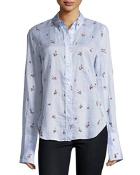 Isabel Marant Uliana Embroidered Button Front Blouse Light Blue