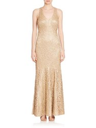 David Meister Sleeveless Embellished Gown Gold