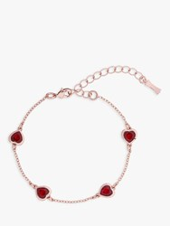 Ted Baker Heniee Swarovski Crystal Heart Chain Bracelet Rose Gold Red