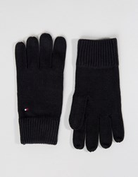 Tommy Hilfiger Cashmere Mix Gloves In Black Black