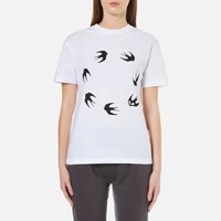 Mcq By Alexander Mcqueen Women's Classic Circle Swallow T Shirt Optic White