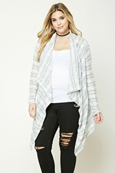Forever 21 Plus Size Drape Front Cardigan Heather Grey Cream