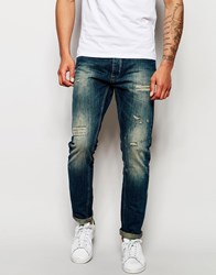 Blend Of America Blend Jeans Twister Slim Fit Distressed Mid Wash Blue